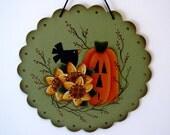 Sunflowers, Pumpkin, Crow Sign, Round Scalloped Wood, Handpainted, Home Decor, Wall Art