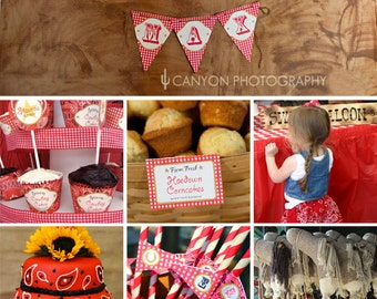 Country-Western Birthday Party Printable Decor Kit - Over 60 pages of personalized designs!