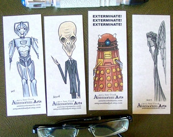 4 Doctor Who Villain Bookmarks - Cybermen The Silence Dalek Weeping Angel - Don't Blink