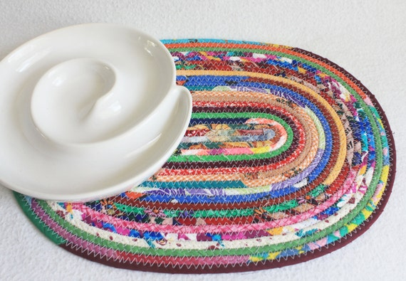 Fabric Coiled Mat / Placemat / Hot Pad / Trivet Colourful Carnival Oval by PrairieThreads