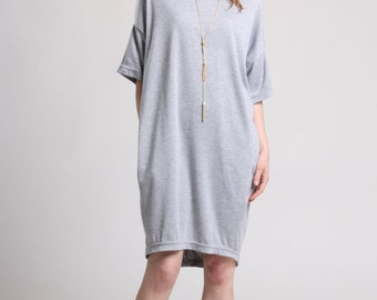 Summer Cocoon Dress with Pockets, Gray T-Shirt Dress, Over Sized Summer Dress, Loose Dress with Drop Shoulder, Jersey Dress, Tunic Dress