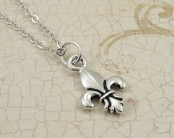 Fleur De Lys Necklace, Silver Fleur De Lis Charm on a Silver Cable Chain