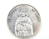 LARGE Saint Rose of Lima Catholic Medal - Pocket Medals - Religious Coin - Prayer Medallion- Patron St of Florist