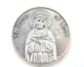 LARGE Saint Rose of Lima Catholic Medal - Pocket Medals - Religious Coin - Prayer Medallion- Patron St of Florist