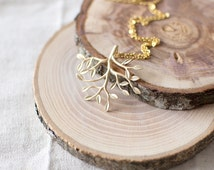 Tree Branch Necklace. Tree Pendant Necklace. Gold Branch Necklace. Twig Necklace. Gold Charm Necklace. Woodland, Forest Inspired.