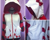 MADE TO ORDER Hello Kitten Neko Cat Hoodie with Stripes and claw pockets
