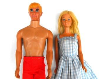 1960s Malibu Barbie & Ken Dolls Vintage Original 1966 1968 Mattel Beach Fashion Doll Date Couple Blonde California Girl Collectible Gift Set