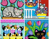 CATS and FLOWERS Blank Note CARDS - Set of 4 Folk Art Designs by Jill