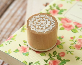 RS-05 WOOD Round STAMP lace doily pattern rubber stamp