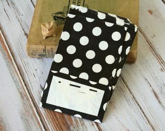 BLACK Polka Dot flat bottomed paper bags