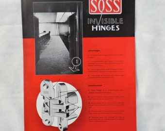 Soss Invisible Hinges 1960s Advertising Brochure