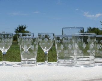 8 Pieces of  Dots and Diamonds Etched Glass Tumblers, Goblets