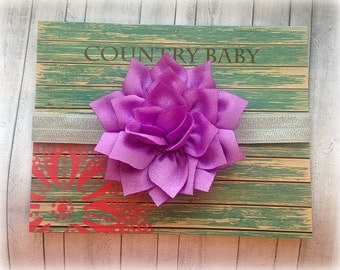 Purple Baby flower Headband, Headband, Baby Girl Headband, Flower Headband, Bright Purple Hair Clip, Purple Hair Clip, Purple baby Headband