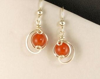 Red Orange Carnelian Small Drop Silver Earrings, Sterling Silver Carnelian Stone Asymmetrical Wire Wrapped Earrings, Argentium Silver