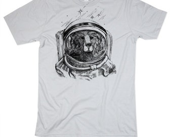 Astronaut Bear Tshirt - Cosmic Space Explorer Bear Shirt - Screen Printed Cotton Shirt - Small, Medium, Large, XL, 2XL