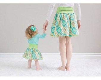 Everyday Lady Skirt Pattern, Mom and Me Skirt Pattern, Easy Lady Skirt, Matching Mom Skirt Pattern, Easter Skirt Pattern