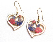 Vintage 80s Earrings * Flower Hearts * Dangles * Dangle Earring * Cloisonné