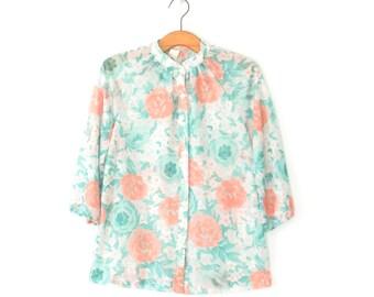 Sheer 70s Blouse * 1970s Shirt * Vintage Floral Blouse * Medium - Large