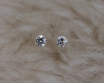 4mm Cubic Zirconia Argentium Silver Earrings - 4 prong - Nickel Free Hypoallergenic Stud Earrings