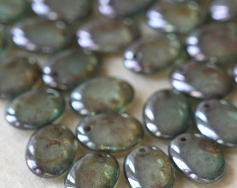 Green Luster Oval Drop Bead - Czech Glass Beads - Top Drilled Beads - Jewelry Making Supply - 12x9mm (25 pieces)
