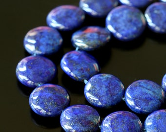 12mm Lapis Lazuli Coin Beads - Jewelry Making Supplies -   Gemstone Coin Beads - Choose Your Amount - Blue