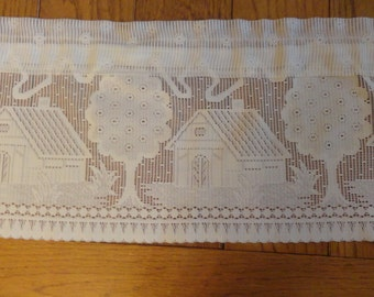 Vintage GERMAN LACE Valance with Houses and Trees Cottage Decor