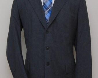 Vintage men's grey wool blazer/ men's grey wool blazer/ Detroit