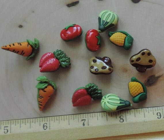 "Vegetable Veggie Lover Buttons, Novelty Buttons Assortment Package by Buttons Galore, Style 4092 ""Veggie Lover"", Sewing, Crafting Embellis"