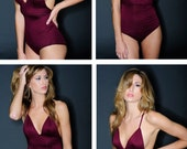 Lingerie Bodysuit- Burgundy- Jersey knit Teddy Leotard- New