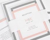Blush Wedding Invitation - Unique, Monogram Wedding Invites - Modern Initials Wedding Invitations