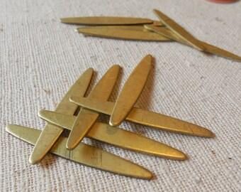 Raw Brass Oblong Rice Shaped Flat Bar Stampings (12) Boho, Steampunk