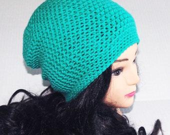 Aqua Crochet Slouchie Beanie Hat, Baggy Hat, Slouchy Hat, Winter Hat