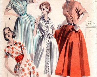 1950s Wrap Dress Pattern - Vintage Butterick 7995 - Bust 32
