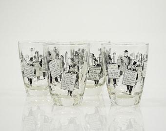 Vintage - Glasses-  Low Ball Glasses -Libbeys Sandwich Man - Set of Four