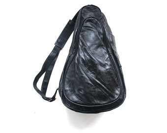 Vintage Leather Backpack / Leather Knapsack / Black Leather Backpack