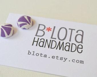 Fabric Button Earrings - Pretty Purple