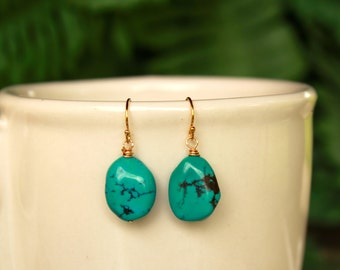 Natural Turquoise Earrings, December Birthstone, Turquoise Minimalist Earrings, Simple Earrings, Lightweight, Blue Gemstone, Gold Filled