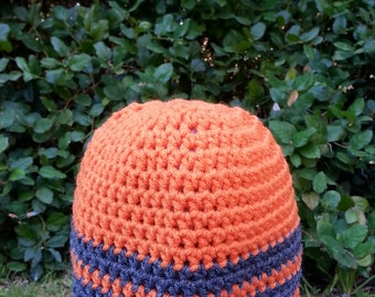 boy beanie, boy beanies, boys beanie, crochet hat, beanie, orange hat, grey hat, gray hat, vegan friendly, blue, tan, size 4 years old 4340