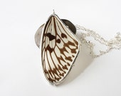 Rice Paper Butterfly Necklace, Real White and Black Butterfly Wing Pendant, Nature Jewelry