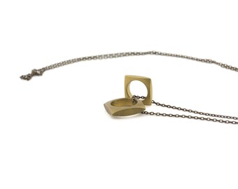 GEOMETRIC CHARM NECKLACES // Squared Brass Mens Necklace Unisex Charm Necklace