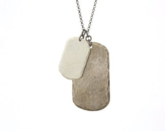DOUBLE DOG TAG : Sterling Silver Mens Dog Tag Necklace
