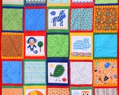"""At the Zoo Quilt with Cuddle Minky Back  50"""" X 65"""""""