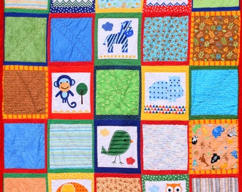"At the Zoo Quilt with Cuddle Minky Back  50"" X 65"""