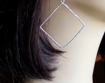 The Delicate Hammered Silver Diamond Women's Earrings --- Valentines Day Gift Idea