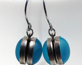Made for the beach: double-sided aquamarine glass nebula earrings