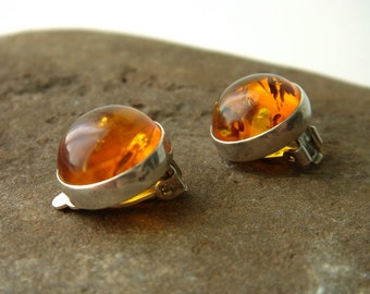 Vintage Amber and Sterling Silver Clip On Earrings - Signed - 925 - Round Cabochon