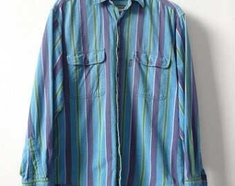 Levi Strauss COLOR BLOCK 90s COTTON striped long sleeve button up shirt