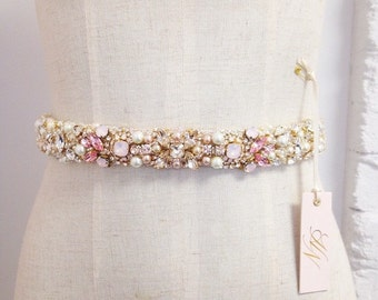 Ombre Blush Crystal Bridal Belt- Swarovski Crystal Bridal Sash