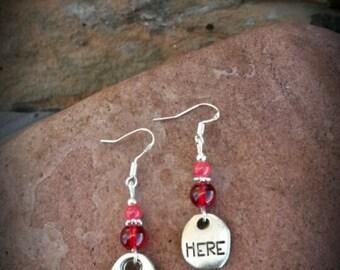 Red Be Here Sterling Silver Earrings, Be Here Red Dangle Sterling Silver Earrings, Silver Be Here Earrings