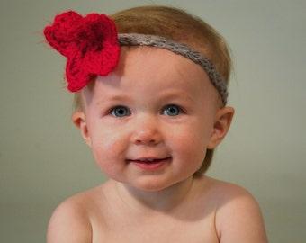 3-6 mo. Handmade Baby Girl Flower Headband (gray/red flower).  Made to Order.